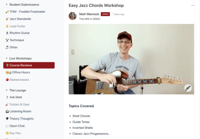 Online Guitar course community using Circle.so